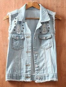 Blue Single Breasted Rivet Ripped Lace Denim Coat