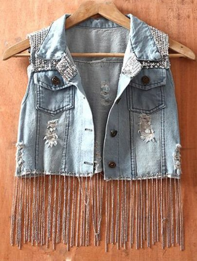 Blue Single Breasted Hooded Ripped Sequined Lace Denim Coat
