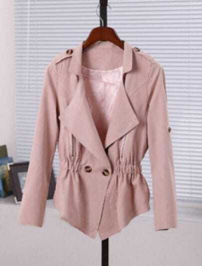 Pink Lapel Long Sleeve Double Breasted Zipper Coat