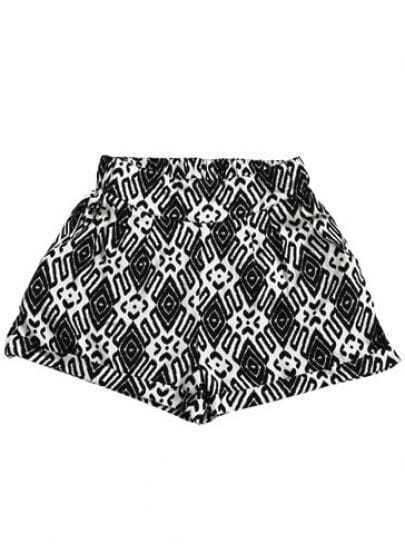 Black White Geometric Print Elasic Waist Shorts
