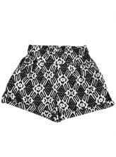 Black White Geometric Print Elasic Waist Shorts