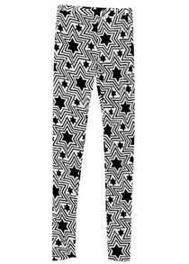 Black White Star Print Thin Elasic Leggings