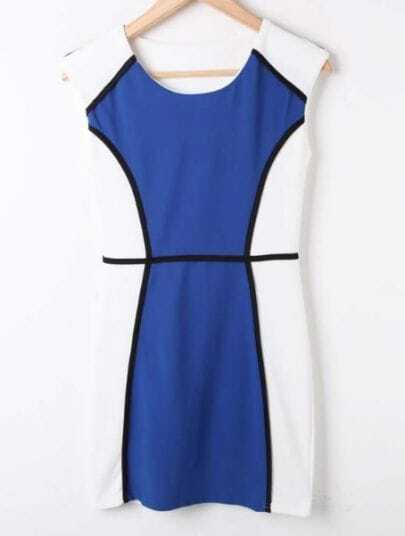 Blue White Round Neck Sleeveless Fitted Bodycon Dress