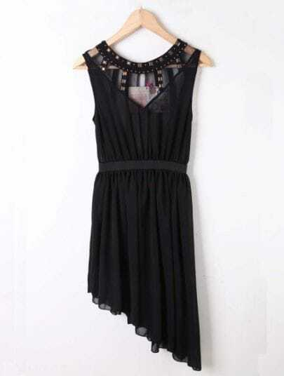 Black Sleeveless Rivet Asymmetrical Chiffon Dress