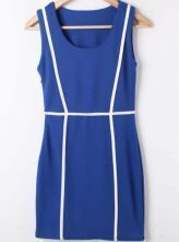 Blue White Round Neck Sleeveless Bodycon Polyester Dress