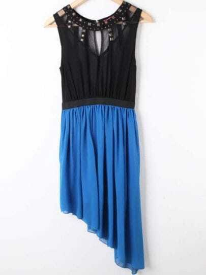 Black Blue Sleeveless Rivet Asymmetrical Chiffon Dress