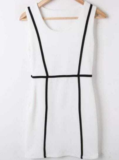 White Black Round Neck Sleeveless Bodycon Polyester Dress
