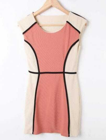 Pink White Round Neck Sleeveless Fitted Bodycon Dress