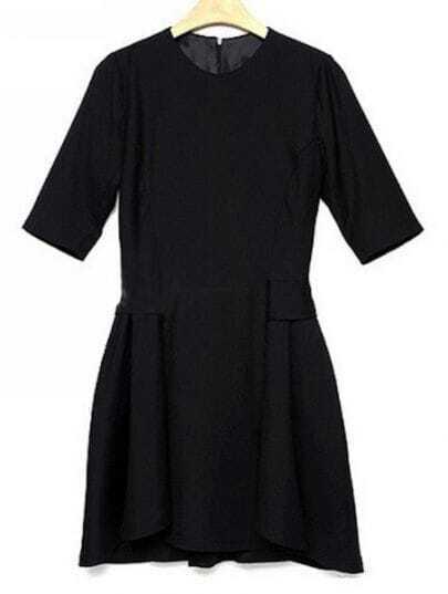 Black Round Neck Half Sleeve Slim Cotton Dress