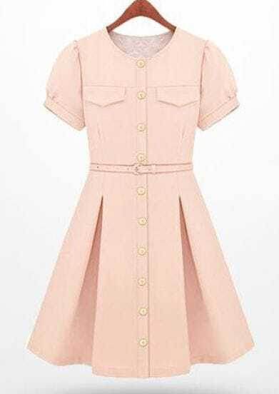 Light Pink Single Breasted Pockets Mid Waist Dress