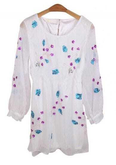White Floral Rivet Split Back Mid Waist Chiffon Dress