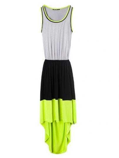 Green Black Grey Elasic Waist Polyester High Low Dress