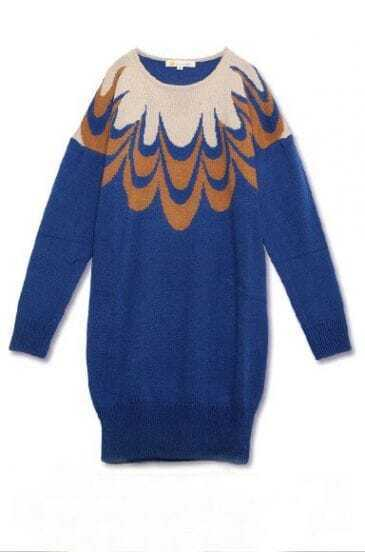 Blue Long Sleeve Peacock Feathers Print Sweater
