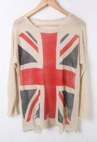 Beige UK Flag Print Long Sleeve Ripped Front Distressed Jumper