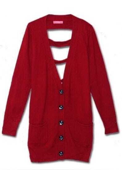 Red Lace Collar V-neck Long Sleeve Ripped Back Cardigan