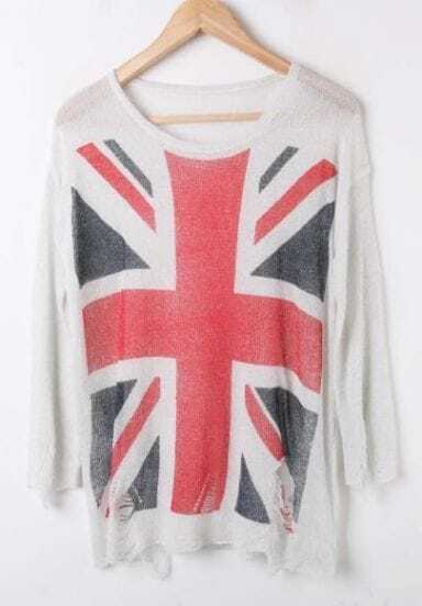 White UK Flag Print Long Sleeve Ripped Front Distressed Jumper