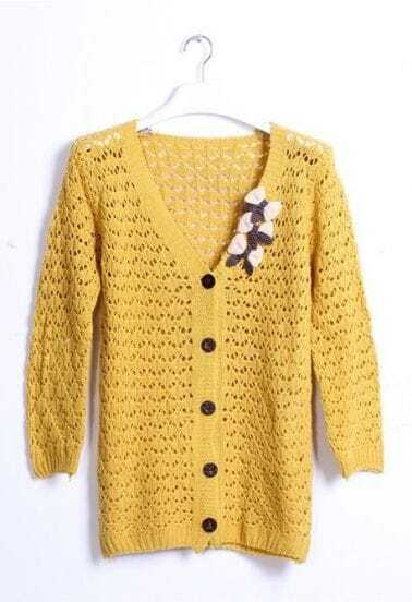 Yellow Long Sleeve V-neck Three Bowknot Embellished Crochet Cardigan