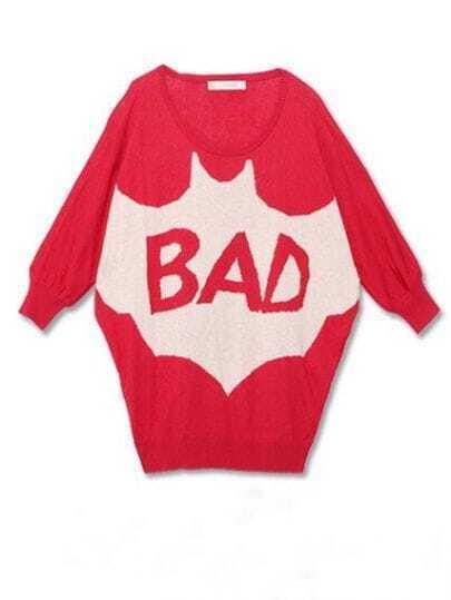 Red Three Quarter Length Sleeve BAD Bat Print Knitted Jumper