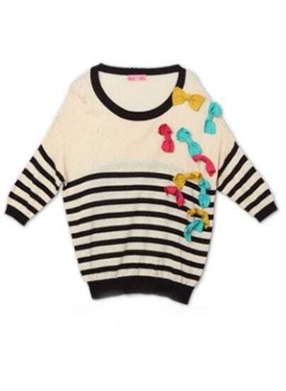 Beige Black Striped Long Sleeve 3D Bowknot Embellished Jumper