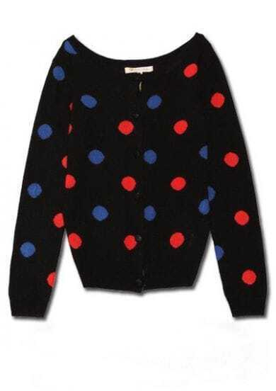Black Colorful Poka Dot Long Sleeve Knitted Cargigan