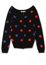 Black Colorful Poka Dot Long Sleeve Knitted Cargigan