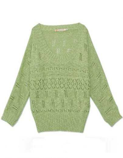 Green Scoop Neck Long Sleeve Eyelet Batwing Sleeve Jumper