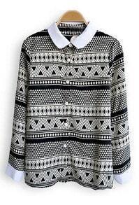 Black Triangle Pot Strips Print Long Sleeve Chiffon Blouse