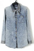 Retro Bleached Rolled Sleeve Tie Neck Denim Blouse