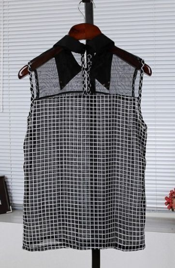 Black Sleeveless Check Print Mesh Metal Collar Tip Blouse