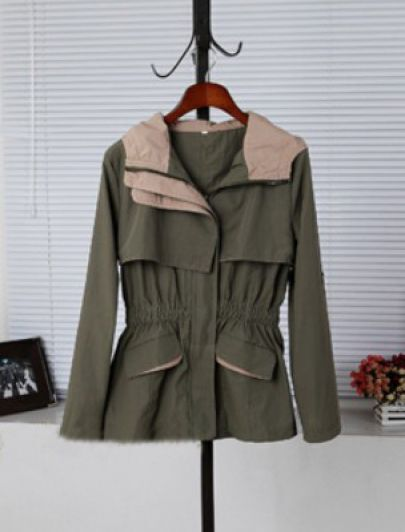 Army Green Lapel Long Sleeve Zipper Pockets Coat