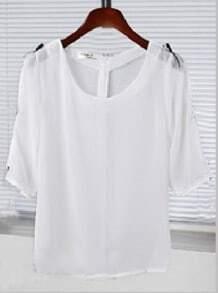 White Bowknot Half Sleeve Zip Back Sheer Chiffon Blouse