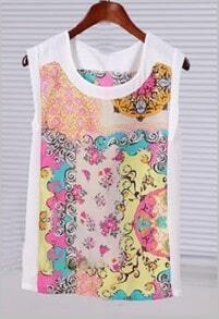 Pink Yellow Sleeveless Scarf Print Blouse