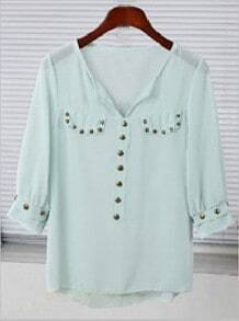 Green V-neck Studded Placket Half Sleeve Sheer Chiffon Blouse