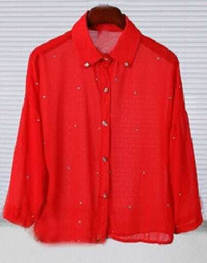 Red Long Sleeve Metal Skull Buttons Rhinestone Sheer Blouse