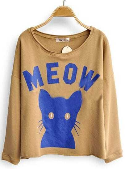 Khaki Long Sleeve MEOW Cat Print Scoop Neck Sweatshirt