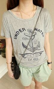 Grey Short Sleeve UNDER WATER Anchor Print T-shirt