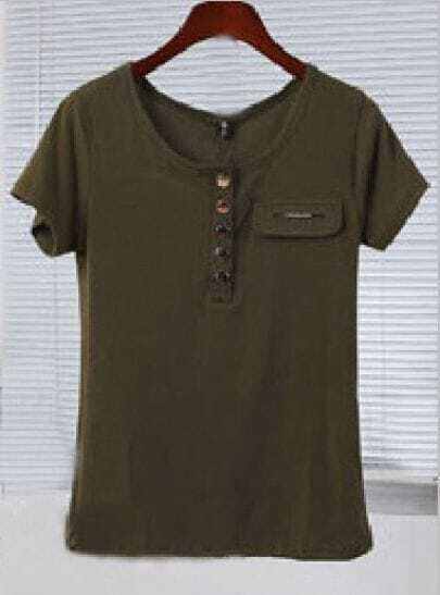 Army Green Short Sleeve Metal Botton Half Placket T-shirt