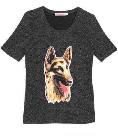 Metallic Yarn Grsy Dog Applique Short Sleeve T-shirt