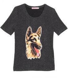 Metallic Yarn Grsy Dog Applique Short Sleeve T-shirt