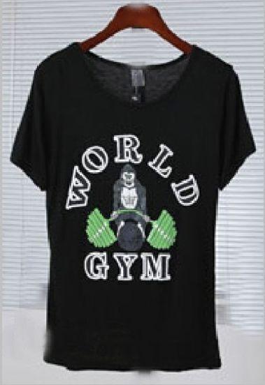 Black Short Sleeve WORLD GYM Monkey Print T-shirt