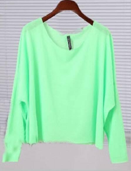 Neon Green Boat Neck Batwing Long Sleeve T-shirt -SheIn(Sheinside)