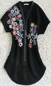 Black Short Sleeve Zip V-neck Applique Sequined Curved Hem Dress