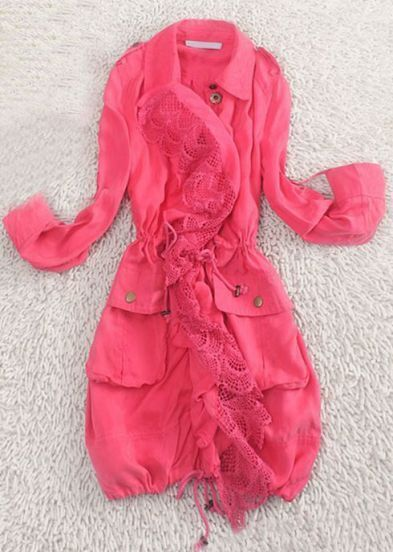 Pink Rolled Sleeve Draped Hollow Lace Front Drawstring Trench Coat