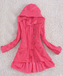 Pink Double Dreasted Long Sleeve Layers Hem Hoody Trench Coat