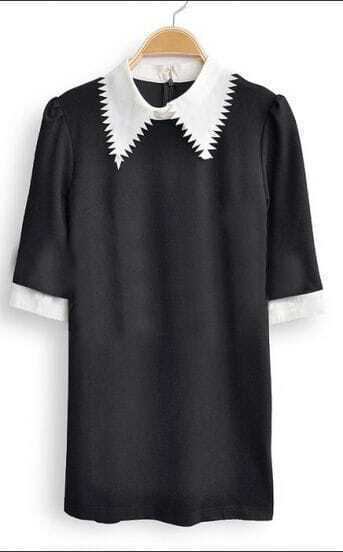 Black Half Sleeve Contrast Serration Collar Zip Back Blouse