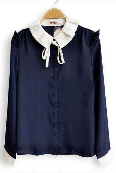 Navy Frill Long Sleeve Contrast Pleated Tie Collar Blouse
