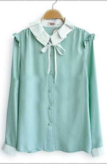 Light Green Frill Long Sleeve Contrast Pleated Tie Collar Blouse