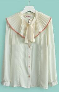 Beige Flouncing Pussybow Collar Long Sleeve Blouse