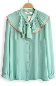 Light Green Flouncing Pussybow Collar Long Sleeve Blouse
