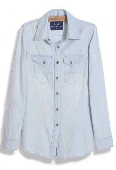 Light Blue Wing Lapel Studded Bottons Long Sleeve Denim Blouse
